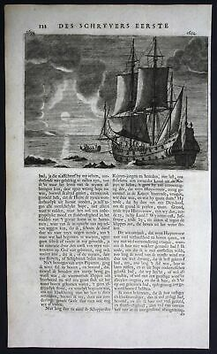 1726 - Ship Asia Indonesia Ambon marine naval Valentijn engraving map