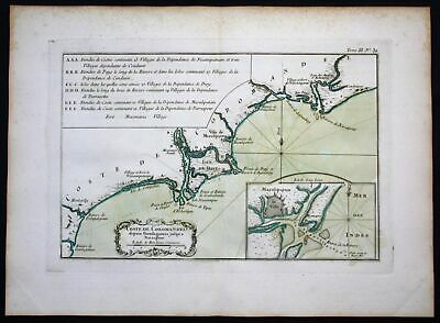 1764 - Coromandel India Machilipatnam Narsapur Indien Bellin antique map