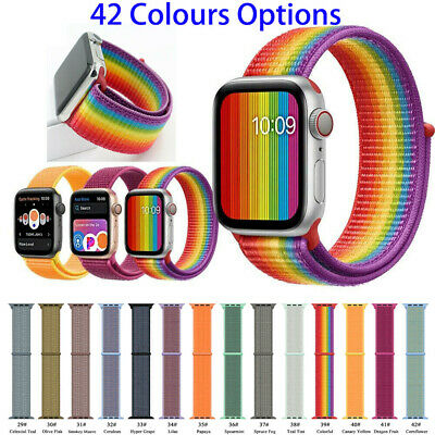 Woven Nylon Sports Loop Watch Band Strap For Apple Watch 38 40 42 44mm Lot S1-4