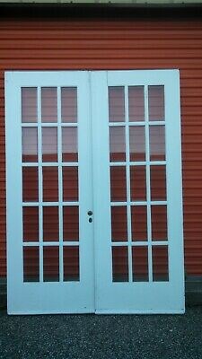Pair Vintage French Doors Wood  Bevelled Glass 15 PANE 5 FT X  82 1/2  CAN SHIP!