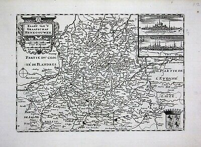 1735 - Hainaut Hennegau Mons Valenciennes gravure engraving Ratelband map carte