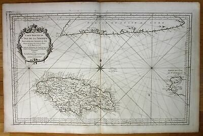 1753 Jamaica island Greater Antilles nautical sea chart map Bellin antique print