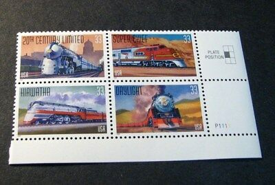 US Stamp Scott# 3337a  All Aboard-Famous Trains 1999  MNH  Blk of 4 W/P#  BKL16