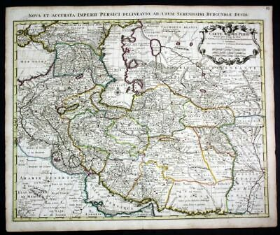 ca. 1730 Persia Iran Caspian Sea Turkmenistan map Karte Covens Mortier