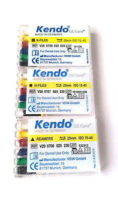 Kendo Dental Root Canal Endodontic Files  25mm #15-40 (3 PACKS OF 6 FILES)