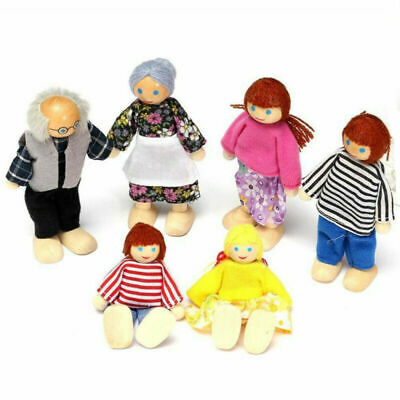 6PCS Wooden Dolls Pretend Play Set Family For Children Kids Figure Toy Gift