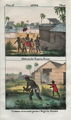 1840 - Benin Guinea Negro people natives Africa costume Lithograph