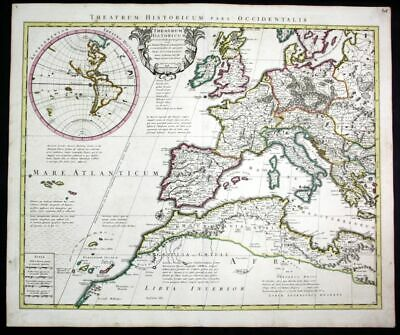 ca. 1730 Europe Spain Italy America inset map Karte Covens Mortier engraving