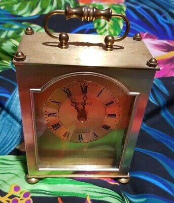 Vintage President Quartz Brass Carriage Clock,battery operated FULLY WORKING