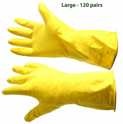 Wholesale Joblot Car Boot Sale Bulk 120 Pairs Yellow Washing Up Rubber Gloves