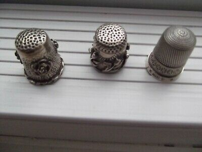 3 Hallmarked Solid Silver Thimbles perfect condition 2 embossed with flowers