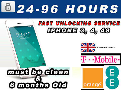 Unlock Service for Apple iPhone 3 4 4s Unlocking EE T-MOBILE ORANGE FAST SERVICE