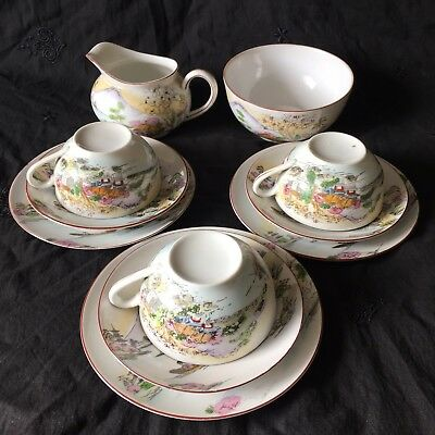 Very Pretty Collectable Japanese Trios 3X Tea Cups With Milk,Sugar Pot GC