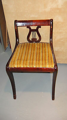 Vintage Antique Mahogany Lyre Harp Piano Chair