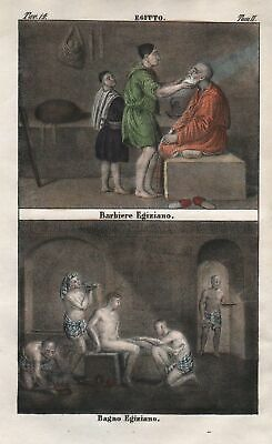 1840 - Egypt barber bath bathing North Africa costume Lithograph