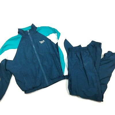Vintage Reebok Windbreaker +Pants Tracksuit Matching Medium Colorblock Blue EUC