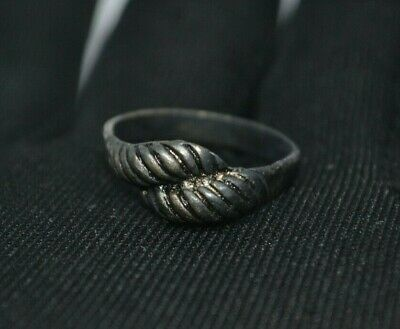 EXTREMELY RARE Ancient RING VIKING BRONZE SILVER RING artifact VERY Stunning