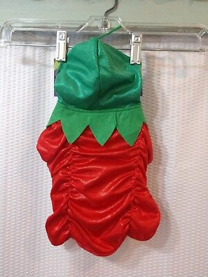 New Halloween Pet Costume Small Strawberry with Hoodie Red Green