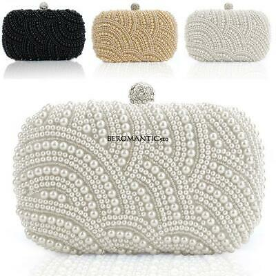 Women Clutch Bag Pearl Beaded Party Bridal Handbag Wedding Evening Purse BE0R
