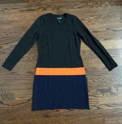 c6725660b01 Cynthia Rowley Sweater Dress Tunic Womens Gray Orange Blue SIZE S 6 Merino  Wool