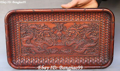"""15"""" Huanghuali Wood Carving Double Dragon Loong Dragons Plate Dish Tray Statue"""