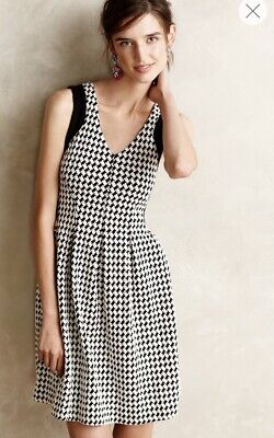 5ad91d0c5e8e Anthropologie Maeve Four and Four Flared Dress Knit Houndstooth Size Small  Black