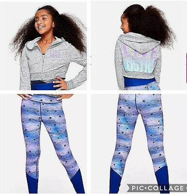 NWT Live Justice Girls Gymnast Dance Crop Zip Up Hoodie & Leggings Size 14/16