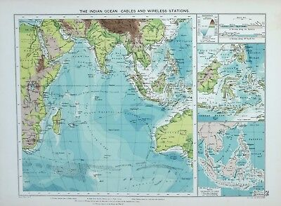1920 Large Mercantile Marine Map Indian Ocean Cables & Wireless Stations Malay
