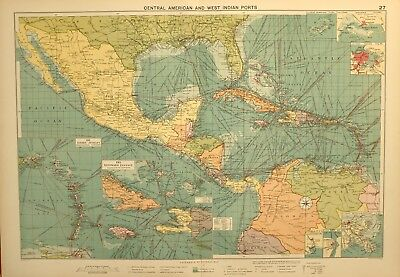1927 Large Mercantile Marine Map Central American West Indian Ports Windward
