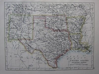 1904 Landkarte ~ Vereinigte Staaten South West Central Texas New Mexico Oklahoma