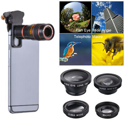 5in1 Clip on Mobile Phone Camera Lens Kit Fisheye Wide Angle Macro CPL Tele DC77