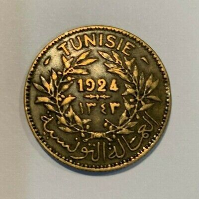 French Tunisia 1924 2 Francs coin Tunisie 2 Francs (AH 1343)