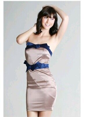 Satin, strapless dress with bow detail.  SMALL