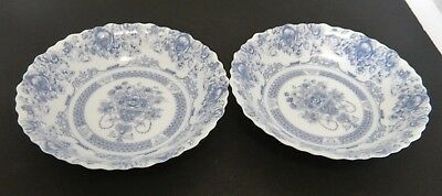 Vintage Arcopal Honorine Coupe Soup Bowls Floral Urn Design France Blue Two
