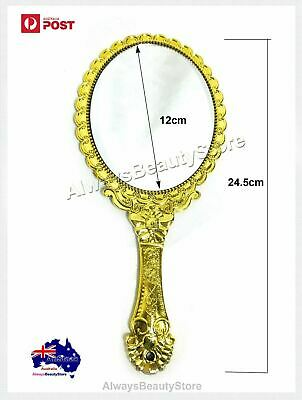 Mirror Vintage Antique Handheld Make up Hand Held Gold Mirror