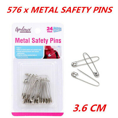 576 x Safety Metal Pins Size #2 Sewing Accessories Clothing Badge Art Craft 36mm