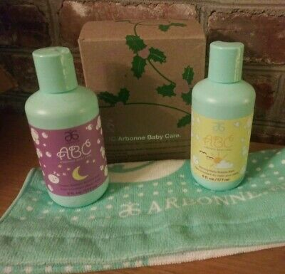 ABC Arbonne Baby Care Set 3 Pieces NIBMorning Bubbly Bath Dream Sweetly Cloth