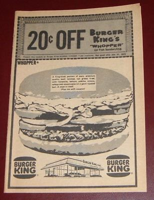 1972 Dated Burger King Ad~Whopper Burger Fast Food Restaurant
