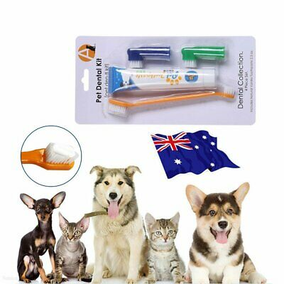 Pet Dog Cat Cleaning Toothpaste+ Toothbrush+ Back Up Brush Set Beef Flavour MN