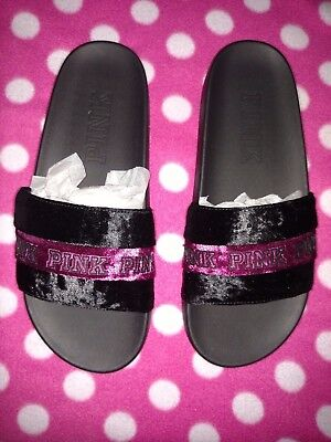 f8e7a20c78b65 VICTORIA'S SECRET PINK Velvet Single Strap Slides Sandal Ink Blue ...