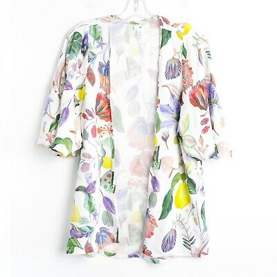 H&M Michelle Morin white floral open cardigan top Girls 14 Adult XS S M summer