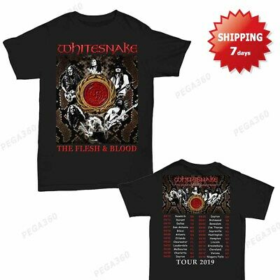 Whitesnake Shirt The Flesh and Blood Tour Dates 2019 T-Shirt Black Men Gildan