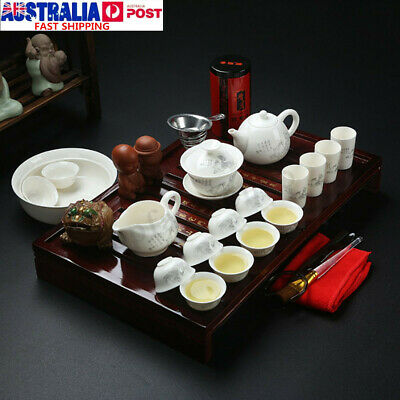 28 In 1 Chinese Kung Fu Tea Set Tea Ceremony Ceramic Teapot Cup Wood Tray Holder