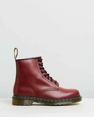 74b017d4e6 Dr. Martens 1460 8-Eye Lace Up Cherry Red Smooth Leather Boots Shoes Doc