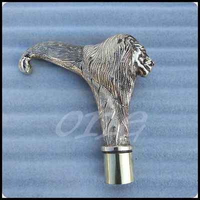 New Solid Brass Antique Head Vintage Lion Handle For Wooden Walking Stick Cane
