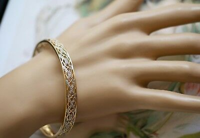 Vintage Jewellery Solid Gold Bangle with Antique Two Tone Gold Jewelry