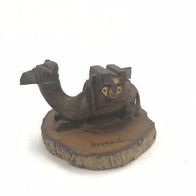 Carved Timber Camel Inkwell Jerusalem Rare Holy Land Religion Vintage