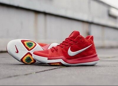 bf98d1a569aa AUTHENTIC NIKE Kyrie 3 Red Wolf Grey White 852395 601 Basketball Men size