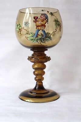 Antique Bohemian Theresienthal  roemer gnome enamelling 1880-1890