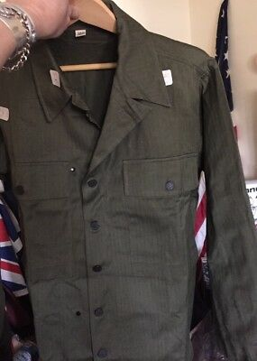Vintage 40s WWII US ARMY HBT Herringbone Twill Special Combat Jacket. Size 38R